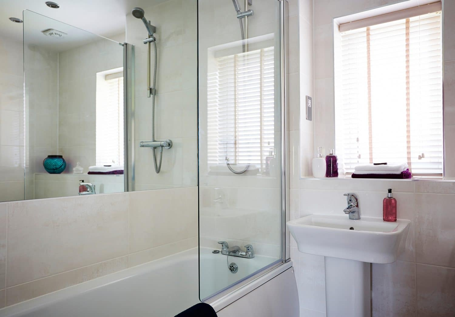 Shot Of Contemporary Interior Of A Bathroom With Shower Area And